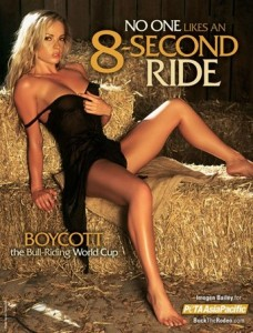 "Thin white blonde woman sprawled out on some haystacks with legs spread pulling her dress down over her bosom. Reads: ""No one likes an 8 second ride."""
