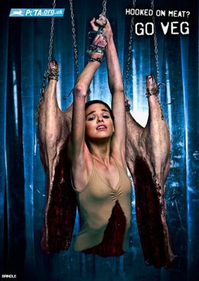 "Image depicts the upper body of a woman butchered and hanging on a meat hook. Reads: ""Hooked on meat? Go veg."""