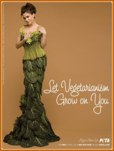 "Alyssa Milano dressed in vegetables. Reads: ""Let Vegetarianism Grow on You."""