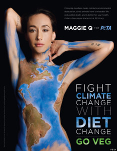 "Naked woman painted like a globe. Reads: ""Fight Climate Change with Diet Change, Go Veg"""