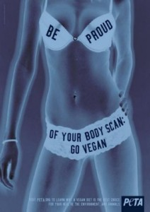 "Image of woman's body under a scan. Her bra reads ""Be Proud""; her bottom reads: ""Of your body scan; go vegan"""