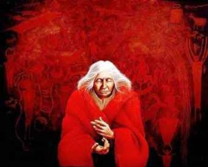 Painting of an elderly woman wrapped in red.