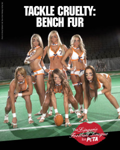 "Group of cheerleaders wearing the same bikini outfit with long hair, tan skin, same thin athletic physique. Reads: ""Tackle Cruelty: Bench Fur"""