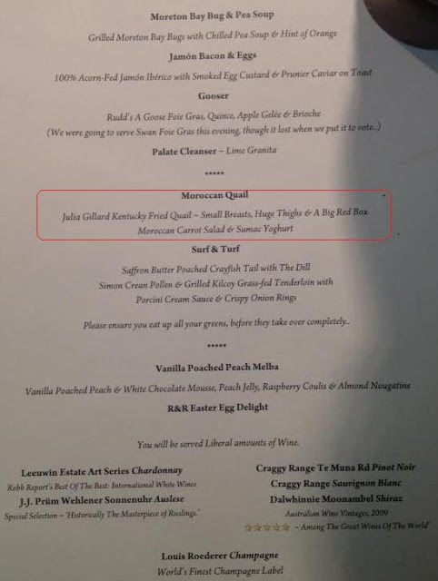 Photo of menu with the comments on Gillard highlighted