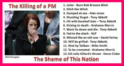 Meme of Julia Gillard with various misogynistic attacks listed along with the person who said them
