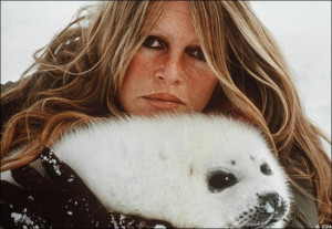Bardot pictured with baby seal