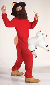 Man in red long johns with hat and full beard wears a toy sheep attached to his groin