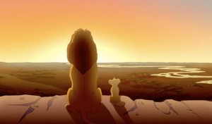 Mufasa and Simba overlook their kingdom