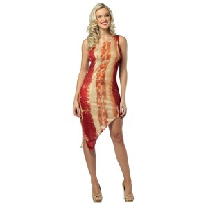 Woman in tight fitting mini dress patterned like bacon