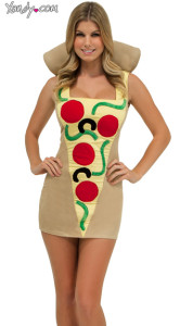 Woman in tight fitting mini dress patterned like pepperoni pizza
