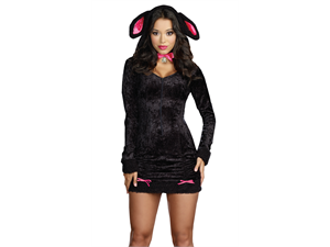 Woman dressed in small tight fitting black dress with sheep's ears
