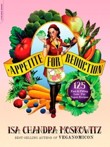 "Cover for ""Appetite for Reduction"" A vegan weight loss book. Shows an illustrated woman in vintage style"