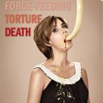 Woman force fed with feeding tube, her mouth is stretched and bleeding