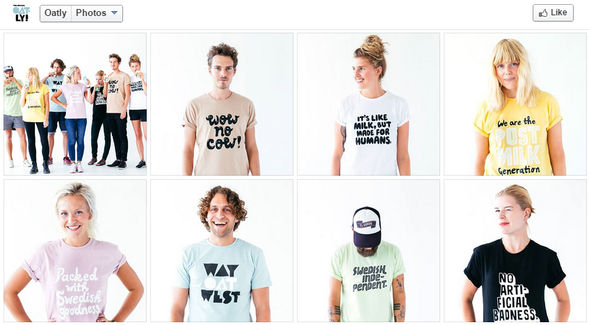 Several images of models wearing Oatly t-shirts. All are in their early 20s, male and female, and white.