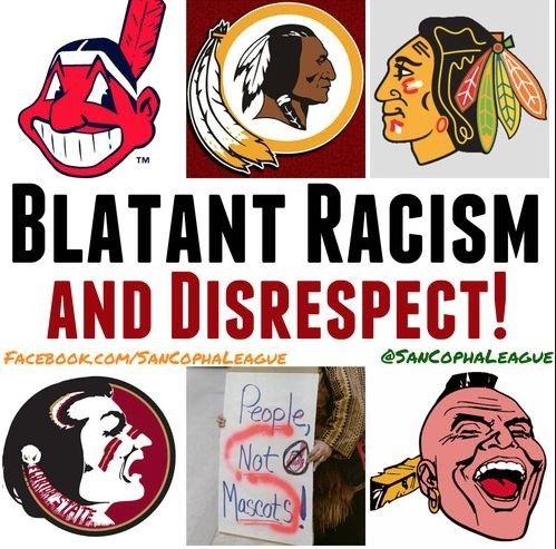 Collection of racist Native American sports mascots