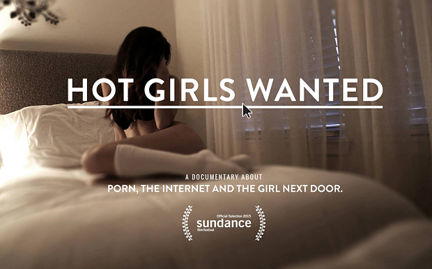 """Movie poster for """"Hot Girls Wanted."""" Girl curled up on a hotel bed, wearing only underwear and children's stockings to the knee. She is hiding her face."""