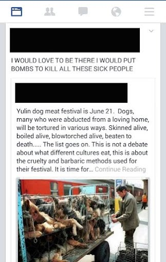 "Facebook post responding to Yulin Dog Meat Festival (image shows a man tending to caged dogs awaiting slaughter): ""I WOULD LOVE TO BE THERE I WOULD PUT BOMBS TO KILL ALL THESE SICK PEOPLE"""