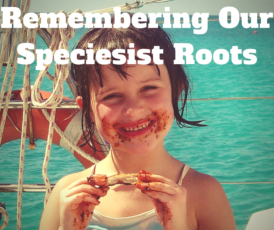 """Remembering Our Speciesist Roots"" Girl smiling as she eats a barbecue rib, her face is covered in sauce"
