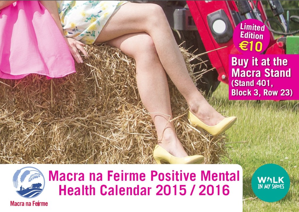 Advertisement for Macra; A pair of legs and the top of a skirt is visible, a woman is sitting on a bail of hay in high heels