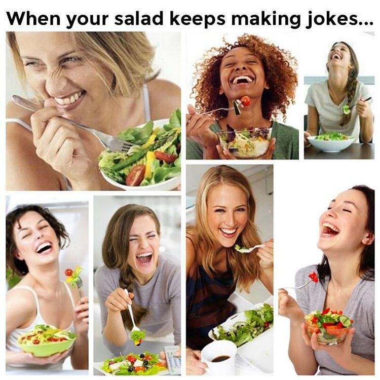 Collection of stock photos showing women laughing while they eat a salad