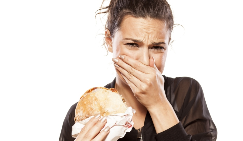 Woman Eating Meat