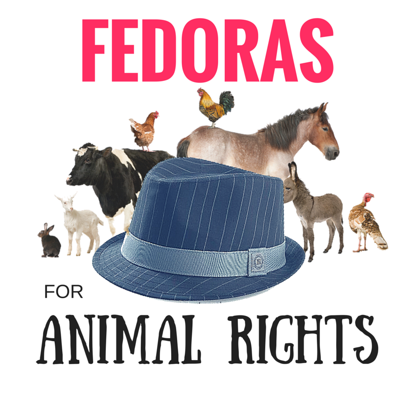"Several animals standing in the background; fedora in foreground, reads, ""Fedoras for Animal Rights"""