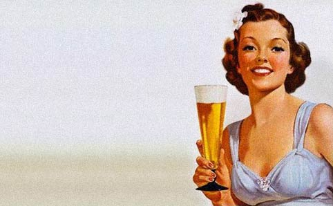 Pinup woman holding glass of beer