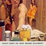 Playboy Ad from 1960s showing a shirtless man in a bathroom with two women wearing only towels