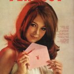 Playboy cover from the 1960s showing a model who looks underage wearing a nightie and holding a pen and a pink envelope