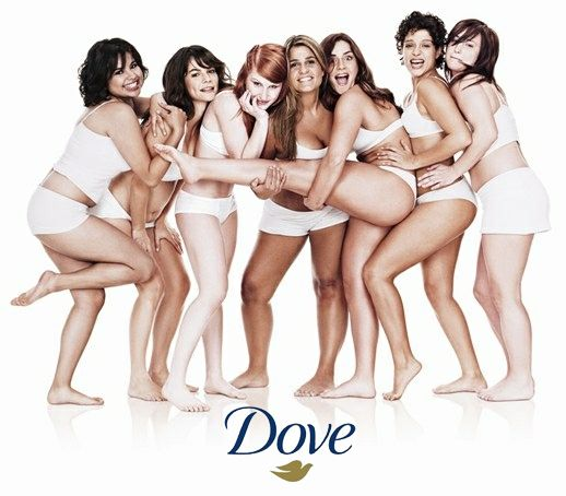 Dove ad featuring seven women in their underwear happy and posing