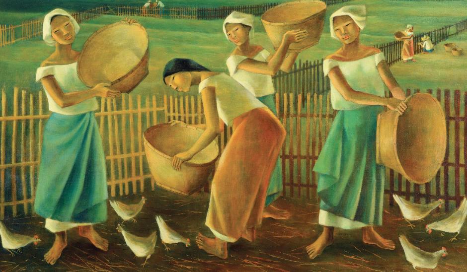 """Anita Magsaysay-Ho """"Women Feeding Chickens"""""""